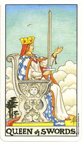 Mala Arkana - Mačevi - tarot karta Kraljica