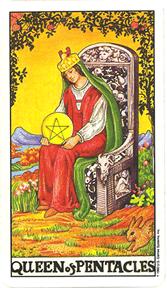 Mala Arkana - Novčići - tarot karta Kraljica