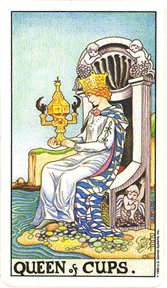 Mala Arkana - Pehari - tarot karta Kraljica