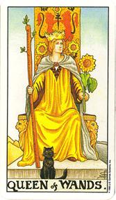 Mala Arkana - Štapovi - tarot karta Kraljica